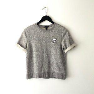 Forever 21 Meow Sweatshirt Crop Top Short Sleeve S